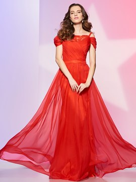 Ericdress Cap Sleeve Off The Shoulder Chiffon Floor Length Long Prom Dress