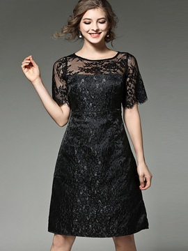 Ericdress See-Through Round Collar Trumpet Lace Dress