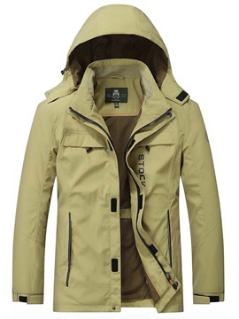 Ericdress Hood Loose Zip Casual Men's Trench Coat