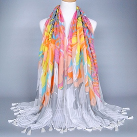 Ericdress Voile Printed Tassels Women's Scarf