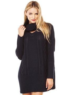 Ericdress Black Loose Mid-Length Pullover Knitwear
