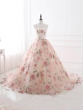 Ericdress Sweet Scoop Ball Gown Appliques Beading Printed Court Train Evening Dress