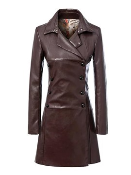ericdress Normallack-dünne Polo-PU-Trenchcoat