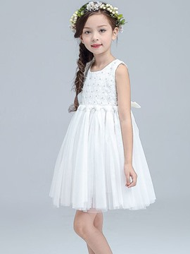 Ericdress Lace Bead Sleeveless Princess Girls Dress