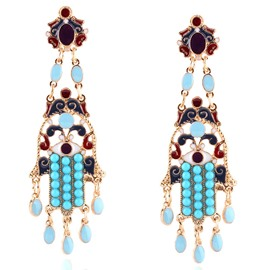 Ericdress Blue Beading Long Pendant Earrings