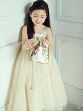Ericdress Sequins Spaghetti Strap Princess Girls Dress