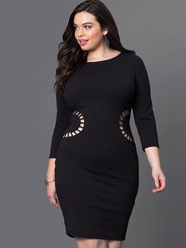 Ericdress Plus Size Hollow Plain Round Collar Above Knee Bodycon Dress