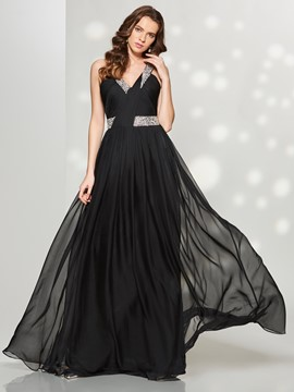 Ericdress Fancy A Line Sleeveless Beaded Sequin Floor Length Prom Dress