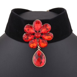 Ericdress Glass Flower Decorated Wide Velvet Necklace