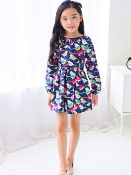 Ericdress Cartoon Bird Long Sleeve Girls Dress