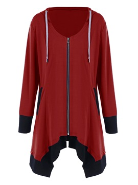 Ericdress Color Block Zipper Fashion Hoodie