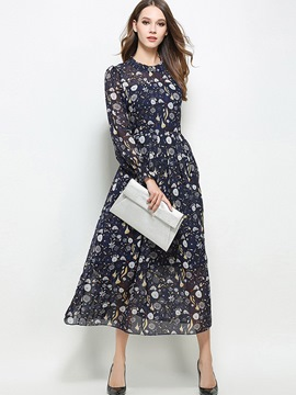 Ericdress Stand Collar Single-Breasted Print Maxi Dress