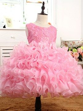 Ericdress Lace Layered Sleeveless Princess Girls Dress
