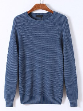 Ericdress Solid Color Crew Neck Pullover Men's Sweater