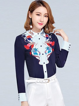 Ericdress Printed Lapel Stylish Blouse