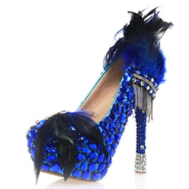 Ericdress Blue Feather Ultra-High Heel Wedding Shoes