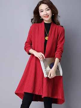 Ericdress Casual Wrapped Solid Color Trench Coat