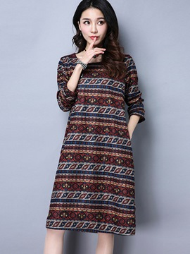 Ericdress Print Pocket Loose A-Line Knee-Length Casual Dress