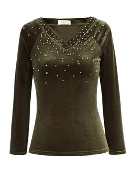 Ericdress V-Neck Beading Decorative T-shirt
