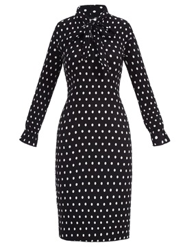 Ericdress Bow Collar Polka Dots Sheath Dress
