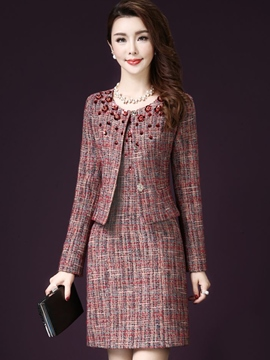 Ericdress Scoop Long Sleeve Jacket Dress Suit