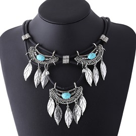 Ericdress Turquoise Inlaid Retro Leaves Tassels Necklace