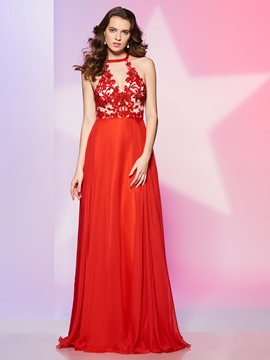 Ericdress Pretty A Line Halter Lace Applique Beaded Floor Length Prom Dress