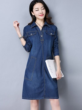 Ericdress Lapel Pullover Denim Pocket Patchwork Casual Dress
