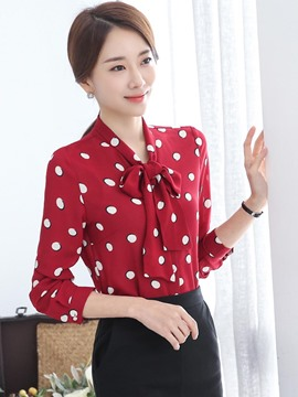 Ericdress Polka Dots Tie Bow Front Blouse