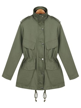 Ericdress Single-Breasted Solid Color Slim Trench Coat