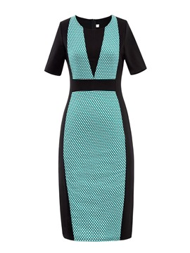 Color Block Plaid Bodycon Dress