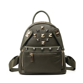 Ericdress Preppy Rivets Decorated PU Backpack