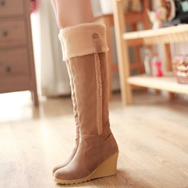 Ericdress Pretty Girl Suede Wedge Heel Knee High Boots