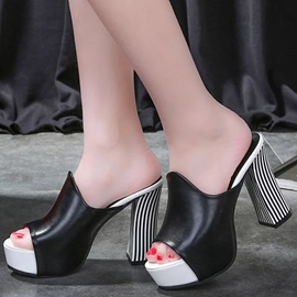 Ericdress Elegant PU Peep Toe Mules Shoes