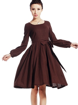 Ericdress Scoop Bowknot Lace-Up Pleated Casual Dress