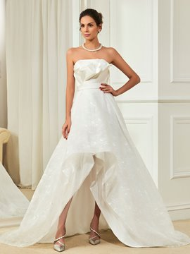 Ericdress Charming Strapless A Line Asymmetry Lace Wedding Dress