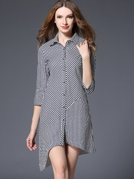 Ericdress Strip Patchwork Lapel Single-Breasted Asymmetrical Casual Dress