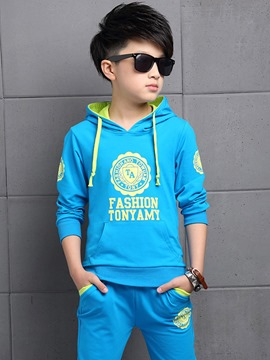 Ericdress Letter Print Hoodie Pants Boys Outfit