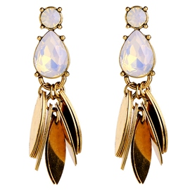 Ericdress Golden Leaves Design Crystal Earrings