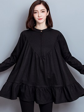 Ericdress Korean Plain Button Pleated Casual Dress