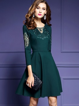 Ericdress Three-Quarter Sleeve Embroidery Floral A Line Dress