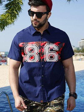 Ericdress Plus Size Casual Patchwork Print Short Sleeve Men's Shirt