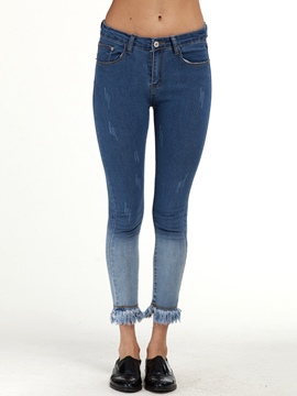 Ericdress Color Block Tassel Patchwork Skinny Jeans
