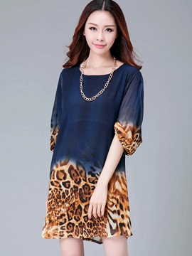 Ericdress Leopard Patchwork Round Collar Elastic Half Sleeve Loose Casual Dress