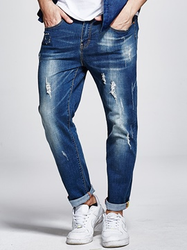Ericdress Plus Size Worn Casual Men's Pencil Jeans
