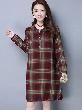 Ericdress Straight Plaid Button Above Knee Casual Dress