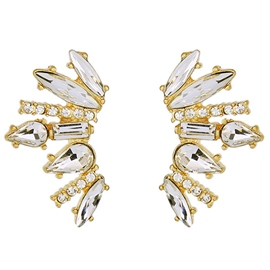 Ericdress Willow Design White Rhinestone Inlaid Earrings