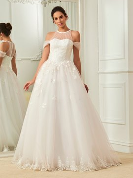 Ericdress Fancy Halter Ball Gown Lace Wedding Dress