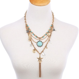 Ericdress Multilayer Stars Pendant Golden Tassels Necklace
