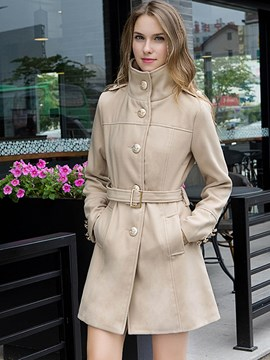 Ericdress Solid Color Single-Breasted Stand Collar Slim Coat